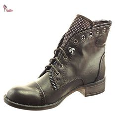 Sopily - Chaussure Mode Bottine Rangers Cheville femmes strass diamant Fermeture Zip Talon bloc 3 CM - Marron - WLD-7-JM-60 T 38 - Chaussures sopily (*Partner-Link)