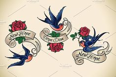 Old School Tattoo of a Swallow (3x) #tattoo #vintage