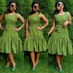 Top Green shweshwe dresses for 2018 - Reny styles African Dresses For Women, African Print Dresses, African Print Fashion, Africa Fashion, African Attire, African Wear, African Fashion Dresses, African Women, African Prints