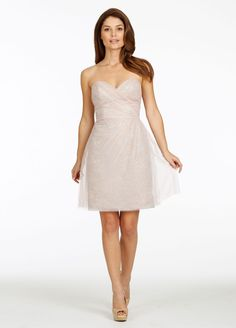Slim cocktail dress with strapless sweetheart neckline and asymmetrically draped tulle over Carolina Chantilly lace body. Sample color: Rose Quartz