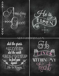 Easter Chalkboard Printables - Nest of Posies