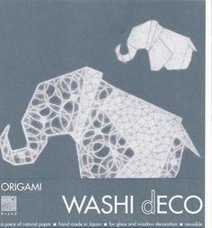 Washi-Fenster-Deko 'Elephant' - Origami Animal L