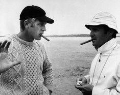 Steve MacQueen in irish aran sweater