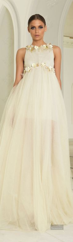 For the Expectant Bride this gown could be just the one your looking for - don't hide the bump celebrate it. Abed Mahfouz Fall Winter 2014-2015.
