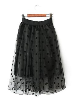 Black Polka Dot Below Knee Fitted Chiffon Skirt