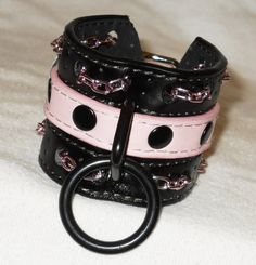 Pink and Black Vegan Bondage Bracelet  Pink by NecroLeather