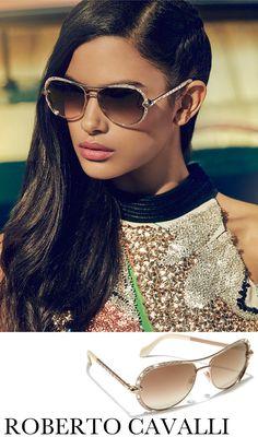 Roberto Cavalli 59MM Crystal-Embellished Metal Aviator Sunglasses