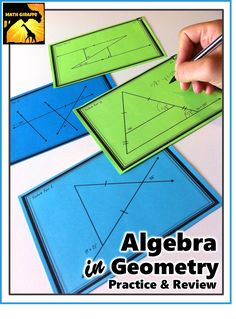 Challenge cards for Algebra equations within Geometry diagrams - Use geometric properties and theorems while reviewing those key Algebra skills!