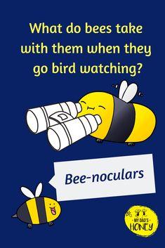 Joke Time! Let's have some BEE FUN! Don't forget to laugh! - #bees #beejokes #beehappy #jokes #fun #laugh #MyDadsHoney Kid Jokes, Funny Jokes For Kids, Corny Jokes, School Jokes, Funny Riddles, Jokes And Riddles, Granddaughters, Grandchildren, Clean Jokes For Kids