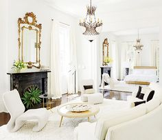 like the way the modern furniture reflects the shapes and feel of the antiques that might have been in this room.the shape of sofa and chandeliers.Lee Ledbetter Decorates a Historic New Orleans Home : Architectural Digest New Orleans Homes, Interior Decorating, Interior Design, Decorating Ideas, Decor Ideas, Decorating Websites, Contemporary Bedroom, Contemporary Office, Contemporary Furniture