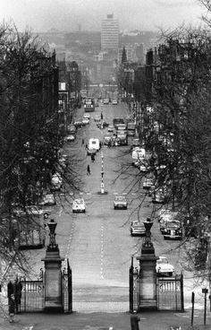 Victoria Road, Crosshill, Glasgow. View from Queens Park gates towards Gorbals & 'The Town'