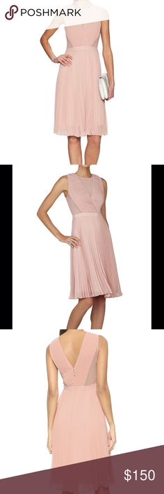 Pleated Dress with Mesh and Crossover Detailing BCBGMaxAzria pleated dress in shadow blush (pink) - size: 06. Tried on but not worn.   The luxe texture and figure flattering silhouette of this dress are beautiful! Features a round neckline, pleated detailing throughout with crossover details on the bodice, v-back, a-line skirt, and concealed center zipper with hook-and-eye closure. Mesh panel at the front plunging chest and side bodice, which is fitted. Fully lined. BCBGMaxAzria Dresses