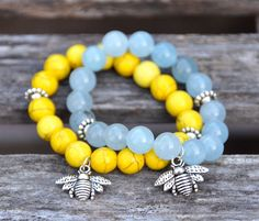 Trendy Bee Charm Gemstone Beaded Bracelets / Summer 2014