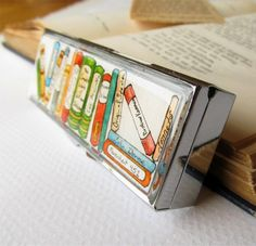For the book lover: Collection of Classics -- Hand Painted 3 Section Pill Box by Sarah-Lambert Cook