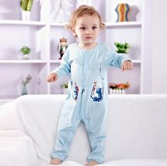 Newborn Baby Toddler Girl Boy Cotton Long Sleeve Bodysuits Clothing 3-6M Blue #ibaby #Everyday