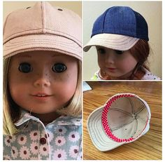 "Diane B. of 18 Inch Doll Club made these just-like-the-real-thing denim and twill baseball caps for her American Girl dolls using Lee & Pearl Pattern 1008: Classic Ball Cap and Big Fat Trucker Hat for 18"" Dolls. Make your own today — this pattern is available as a PDF download in our Etsy shop at  https://www.etsy.com/listing/184380608/lp-pattern-1008-classic-ball-cap-and-bi"