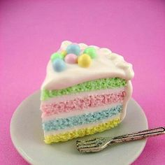 Springtime Soft Pastel Rainbow Cake Slice - Polymer Clay Miniature Food - Pendant / Necklace - make a real cake for a very nice Easter cake Hoppy Easter, Easter Eggs, Easter Food, Easter Bunny, Desserts Ostern, Slow Cooker Desserts, Easter Holidays, Easter Dinner, Easter Treats