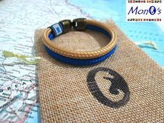 Bracciale con chiusura in Zamak Azzurro e beige - Men's nautical bracelet with zama clasp