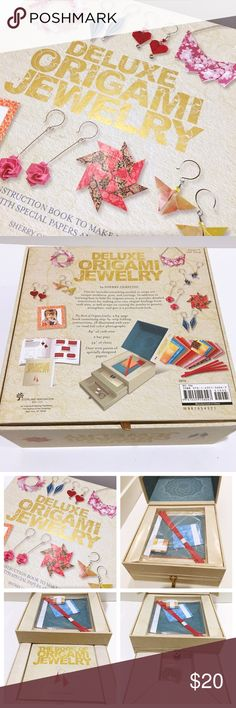 """Origami Jewelry Kit NO TRADES. NWT Deluxe Origami Jewelry Kit. Box opens like a jewelry box and has 3 sections containing 200 pieces of origami paper, 64-page how to book, 2 bar pins and 54"""" of chain. Jewelry"""