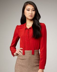 Marc By Marc Jacobs Red Michaela Silk Blouse