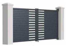 46 Ideas For Pergola Moderne Aluminium Gate Wall Design, Grill Gate Design, Front Wall Design, House Main Gates Design, Steel Gate Design, Iron Gate Design, Door Design, Front Gates, Entrance Gates