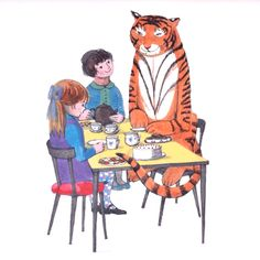 "'The Tiger Who Came To Tea' (Mounted Print)  ""So the Tiger came into the kitchen and sat down at the table.""  Don't you just LOVE this story - it's one of my most favourite to read to small children!"