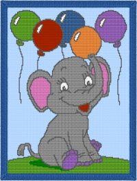 Baby Elephant Afghan Blanket Graph Crochet Pattern