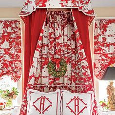Chinoiserie red Robert Allen Quadrille Paradise background canopy bed valance