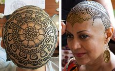 Elegant Henna Tattoo Crowns Help Cancer Patients Cope With Their Hair Loss Hena Designs, Mehndi Designs, Shaved Head Designs, Breast Cancer Tattoos, Bald Women, Hair Loss Women, Bald Heads, Hair Loss Remedies, Mehndi Art