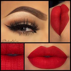 Valentine's Day Makeup Ideas: Neutral Smokey Eyes with Bold Red Lips Makeup By Cari Red Lip Makeup, Cute Makeup, Gorgeous Makeup, Pretty Makeup, Skin Makeup, Makeup Lipstick, Lipsticks, Amazing Makeup, Perfect Makeup