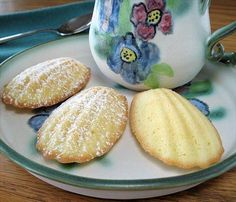 """Madelines """"Delicious and soft French cookies. The recipe is from Bon Appetit Magazine (January 2000). """"This cookie launched a thousand memories — and a literary masterpiece — for Marcel Proust. The group enjoys madeleines with tea, just as the narrator did in Swann's Way."""""""