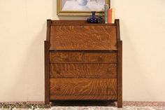 Arts & Crafts Mission Oak 1905 Antique Secretary Desk - Harp Gallery Antique Furniture