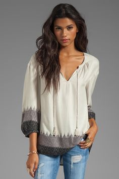 Soft Joie Sancia Ikat Print Top in Caviar from REVOLVEclothing