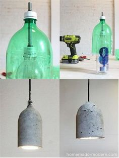 Making concrete lamps
