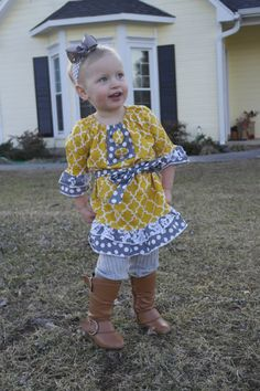 Toddler fall outfit  Childrens dress on;y up to 5t. $5 added for larger size requests. Can be customized as well.
