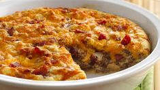 Impossibly Easy Bacon Cheeseburger Pie 6 slices bacon 1 lb lean (at least ground beef teaspoon pepper 1 large onion, chopped cup) cup ketchup 1 cup shredded Cheddar cheese oz) cup Original Bisquick® mix 1 cup milk 2 eggs Bisquick Recipes, Pie Recipes, Cooking Recipes, Easy Recipes, Delicious Recipes, Healthy Recipes, Bacon Recipes, Popular Recipes, Dinner Recipes