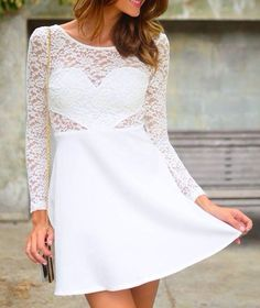 $10.30 Sexy Women's Jewel Neck Backless Bowknot Embellished Long Sleeve Lace Dress