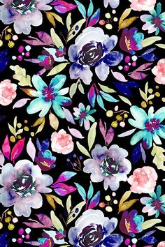 Berry Rose Black by indybloomdesign - Hand painted florals on a black background with bold neon shades. Beautiful hand painted flowers on fabric, wallpaper, and gift wrap. Watercolor Wallpaper Phone, Flower Wallpaper, Of Wallpaper, Screen Wallpaper, Wallpaper Backgrounds, Fabric Wallpaper, Pattern Wallpaper Iphone, Floral Wallpaper Phone, Wallpaper Quotes