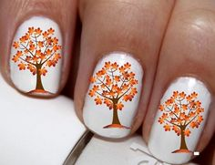 20 pc Autumn Colors Fall Orange And Yellow Autumn Leaves Tree Harest Time Nail…