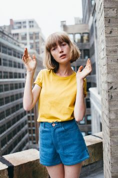 Lou Schoof in American Apparel t-shirt + Samantha Pleet shorts