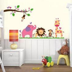 Nursery Wall Sticker -Elephant Safari with lion, monkey & giraffe; $30 & Free Shipping on orders over $50 Australia wide!