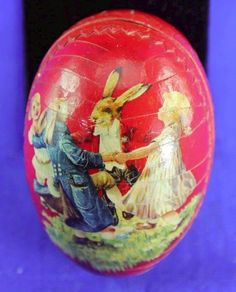 VINTAGE GERMAN PAPER MACHE EASTER EGG CANDY CONTAINER CHILDREN DANCING RABBITS