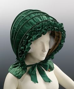 Green silk calash bonnet ca. 1820, American - in the Metropolitan Museum of Art costume collections.