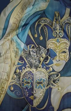 Emilia Italian hand painted silk scarf The Sisters. 110€