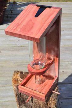 Wine Bottle Bird Feeder by onyourwallwoodart on Etsy