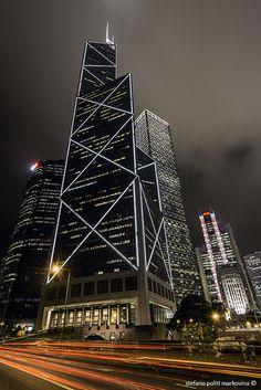 Bank of China skyscraper at night, Hong Kong, China