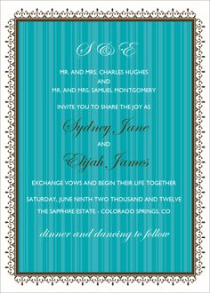 Flat Oversized Invitation - Pacific (Teal)