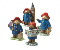 New Beswick Paddington Bear Figurines. Paddington with Big Ben, with Milestone, with Map and with Union Jack Flag. Special offer price £24.99 each.