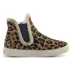 Mou chelsea with crochet stitch detail Leopard Chocolate - MOU #mou #fashion #newshoes #women #streetstyle