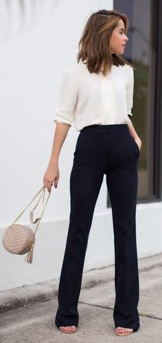perfect office style outfit bag plus blouse plus pants